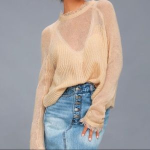 88469ceff778 moon river Sweaters - MOON RIVER PARTY INVITE BLUSH SHEER KNOT SWEATER